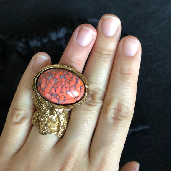 d7b96013377 Yves Saint Laurent Jewelry | Ysl Arty Ring In Coral Size 5 | Poshmark